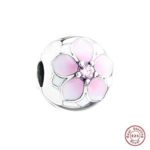 MOCCI 925 Sterling Silber Kollektion Frühjahr Magnolien blühen Clip für Pandora Charme Armbänder Schmuck DIY Herstellung Wulst