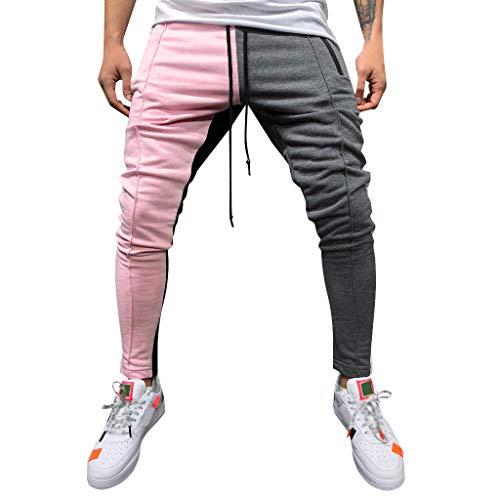 Crazboy Mode Männer Casual Feste Lose Patchwork Farbe Sweatpant Hose Jogginghose(XXX-Large,Rosa) Silk Blend Hose