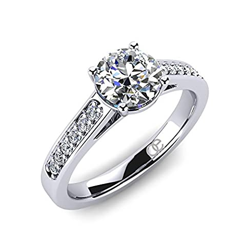 Moncoeur Ladies Engagement Ring Adoree + Sterling Silver Rings for Women Cubic Zirconia Engagement Rings + Proposal Ring + Solitaire Pave Engagement Wedding Ring + Comfort Fit + Luxury Gift