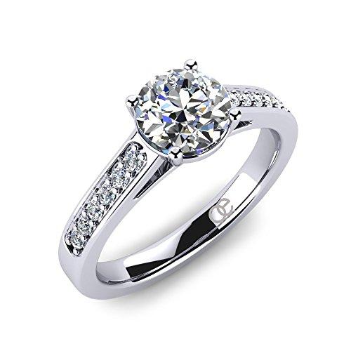 Ring Adoree + Ringe Verlobungsringe in 925 Sterling Silber + Ring Verlobungsring SWAROVSKI Elements Zirkonia Stein + Solitär Silberring für Damen Frauen Freundin + Diamant (48 (15.3)) (Diamant Verlobungsringe Ein)