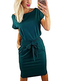 Vruan Summer Dresses for Women Short Sleeve Pockets Casual Swing T-Shirt Women's Day Dress Women 5 Colour Size 6-16
