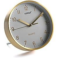 Versa 18560341 Reloj de mesa Blanco y Dorado, Ø16cm diámetro, Aluminio y cristal