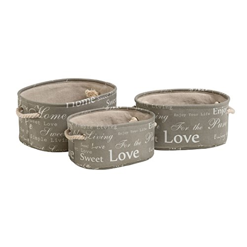 Kendalls Protege Homeware Canvas/Linen Liner/Cotton Rope Handles Set of 3 English Words Oval Laundry Hampers