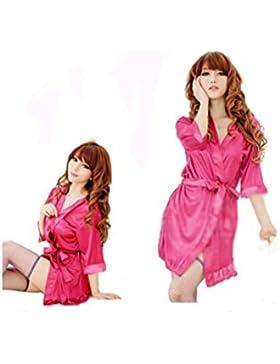 Indumenti da notte Kimono Sexy Nightwear seta raso in pizzo abito da bagno abito da bagno G String