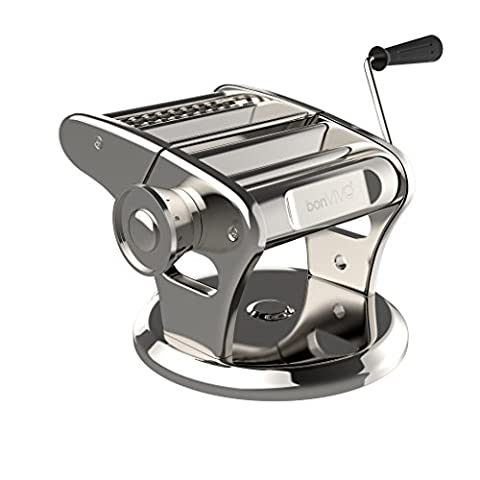 bonVIVO® Pasta Mia (NEW DESIGN) Stainless Steel Pasta Machine With Chrome Finish And Innovative Suction Base, For The Pleasure Of Italian-Style Pasta From Your Own Kitchen