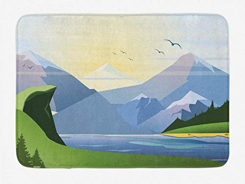 KIYINY Northwoods Bath Mat, Nature Illustration with Grass Lake Forest Mountains and Hills Outdoor Activity, Plush Bathroom Decor Mat with Non Slip Backing, Multicolor 15.7X23.6 inch/40X60cm