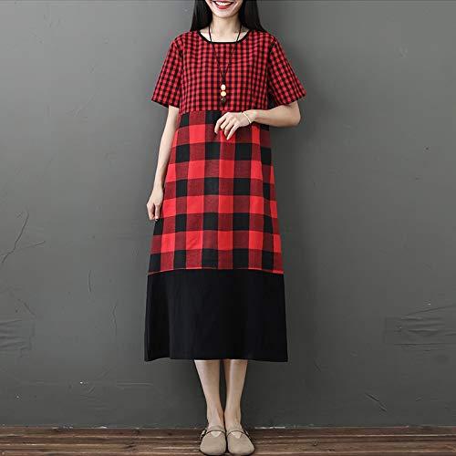 Mitte Der Wade Kleid (MENSDXA Kleiden Vintage Frauen Mitte Der Wade Kleid Spleißen Plaid Überprüft Gedruckte Seitentaschen Sommerkleid Kurzarm Lose Beiläufige Kleid L Rot)