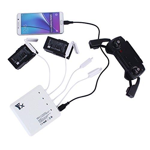 Rantow Mavic Air Cargador de batería inteligente Eje de carga de baterías múltiples paralelas y rápidas para DJI Mavic Air Drone Carga de 4 baterías + 1 mando a distancia + 1 teléfono