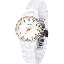 Time100 W50375L.02A Fashion Reloj pulsera de joya case de concha para mujer, correa largo de color blanco material de cerámica