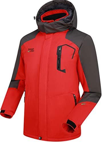 Warme Gefüttert Winterjacke Herren Softshelljacke Wasserdicht Atmungsaktiv Wanderjacke Outdoor Funktionsjacke Sport Regenjacke Rot 3XL