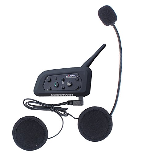 Excelvan V6 - Bluetooth Motorrad Intercom Headset Gegensprechanlage Helm headset (1200M, GPS, DSP Rauschunterdrückung, EU-Ladegerät, Verbinden bis zu 6 Reiter, für Handy Navi Auruf Musikhören)