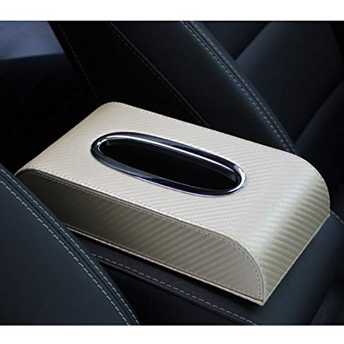 Half Moon Leder (Cvthfyky Classic Black Car Leder Tissue Box Auto Papier Box Sitz Pu Leder kreative Papier Box (Edition : Half Moon Carbon Fiber Gold seat))
