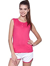 Ap'pulse Women's Sleeveless Henley Tshirt
