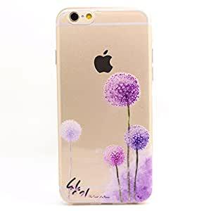 iPhone 6S Case, iPhone 6 Case, UULIKE Clear Soft TPU Back Cover with Cute Pattern for Normal 4.7 inches iPhone 6/6s - Purple Dandelion