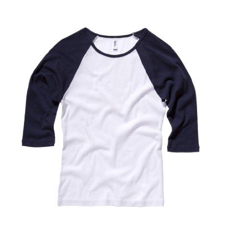 Bella+Canvas Damen Baseball-Shirt mit 3/4-Ärmel 2000 White/Navy M