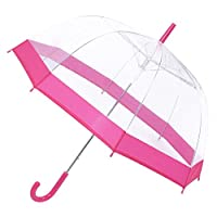 Unibos Clear Transparent Durable Large Dome Bubble Umbrella Pink Brand New
