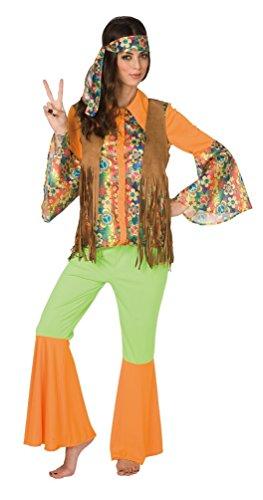 ,Karneval Klamotten' Groovy 60er 70er Jahre Hippie Peace Retro Karneval Kostüm Damen-Anzug inkl. Hemd Weste Schlaghose Stirnband Größe 40/42 (Groovy Kind Hippie Kostüme)