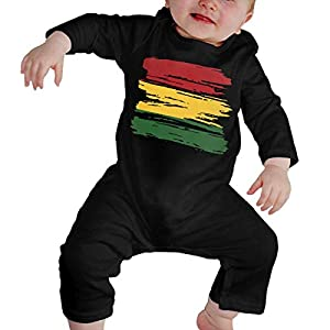 SDLZIJFGHBC Grunge Rasta Flag Newborn Kids Long Sleeve Bodysuit Coverall 16