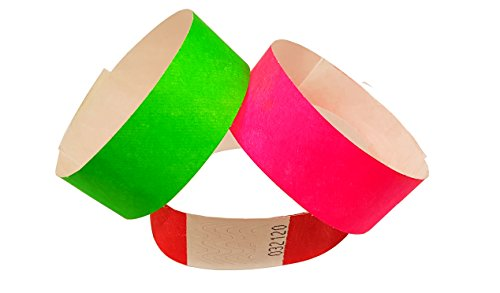 Paper Like Wristbands made from Tyvek. 1000 pack with 17 colour varieties to choose from