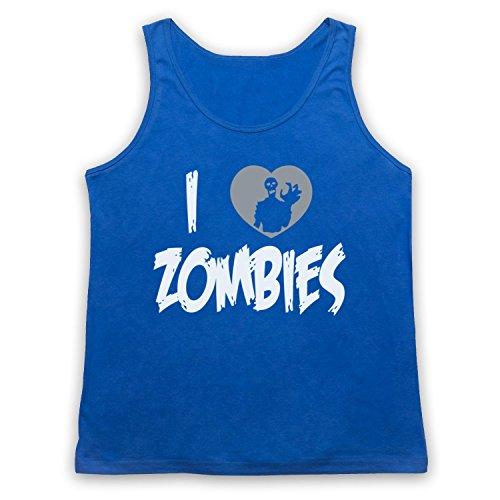 I Love Zombies Funny Slogan Tank-Top Weste Blau