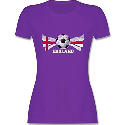 EM 2016 Frankreich England Fußball Vintage tailliertes Premium TShirt mit  Rundhalsausschnitt für Damen Lila