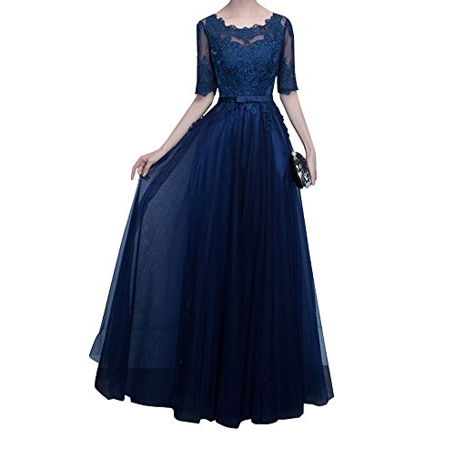Charmant Damen Navy Blau Langarm Spitze Abendkleider Brautjungfernkleider Partykleider A-linie Rock Neu Navy Blau