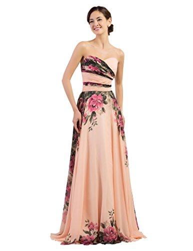 Standesamtkleid Blumen Damen maxikleid Sommer Abiballkleid a Linie Elegante Kleider 8 CL7503-1 Chiffon Prom-abendkleid