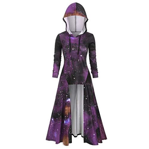 Donna Cloak Abiti Vendita Donna Elegante Stellamo Stampa Abito Autunno Inverno Plus Formato Maxi Abito(Viola,M)