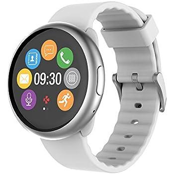 MyKronoz MKZEROUND2W - Reloj de Actividad y sueño con notificaciones y Pantalla táctil (Bluetooth, Android) Color Blanco
