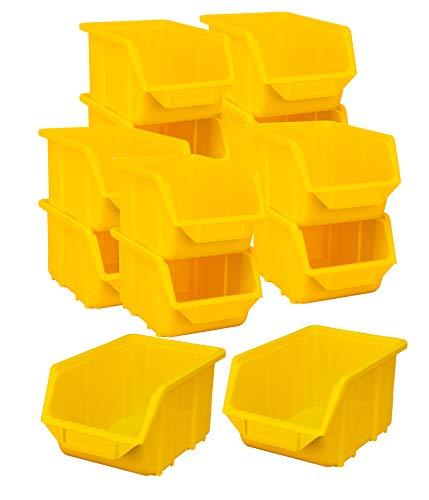 BigDean Stapelboxen Set 12 Stück Gelb mittel 155x240x125mm - Kunststoff Sichtlagerkasten stapelbar - perfekt für Ordnung in Werkstatt & Garage
