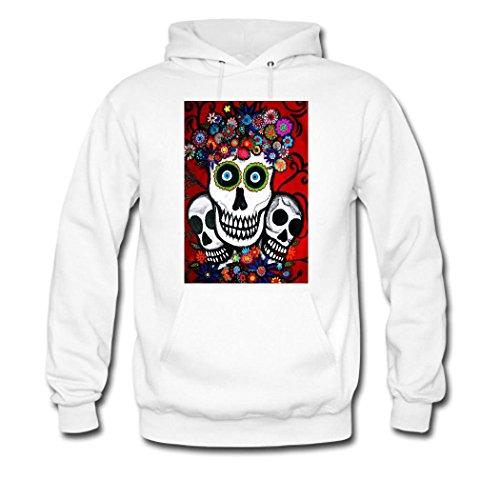 HGLee Printed DIY Custom Sugar Skull Women's Hoodie Hooded Sweatshirt White--2