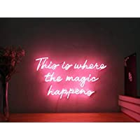 This Is Where The Magic Happens Real Glass Neon Sign For Bedroom Garage Bar Man Cave Room Home Decor Personalised Handmade Artwork Visual Art Dimmable Wall Lighting Includes Dimmer