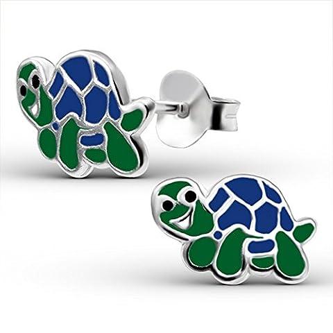 Bungsa© Kinder-Ohrstecker Schildkröte .925 Silber Turtle (Ohrringe Echtschmuck Studs Ohrschmuck