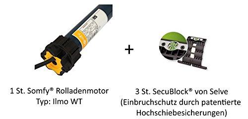Somfy® Rolladenmotor Ilmo WT 6/17 inkl. Einbruchschutz durch 3 patentierte Hochschiebesicherungen, Motorlager, Anschlusskabel und SW 60 Adapter / Mitnehmer.