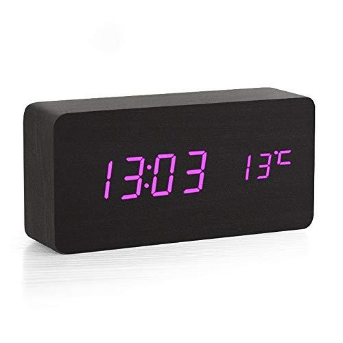 WYFDZBD Wecker Speicher Stumm Elektronische Uhr Sound Control Lithium-Batterie LED Student Kreative Uhr Schlafzimmer Temperatur Multifunktions Holz Uhr Schwarz Lila Licht