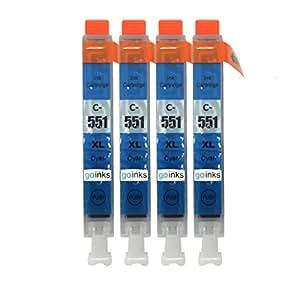 Go Inks C-551C Pack de 4 Cartouches d'encre compatible avec Imprimante CLI-551C Cyan