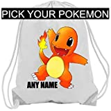 pokemon personalised pe bag, drawstring bag, school bag, birthday christmas