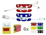 CABLETTO Enrouleur Cables Auriculaires Chargeurs Smartphone et Autres, 6 pièces dans 1 Pack