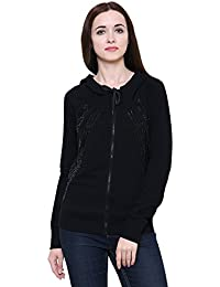 MansiCollections Black Bomber Sequin Jacket with Hood for Women