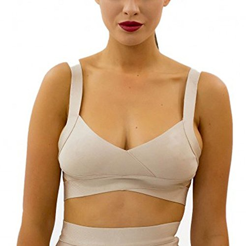 HLBandage Strappy Backless Knitted Rayon Short Bandage Crop Top Beige