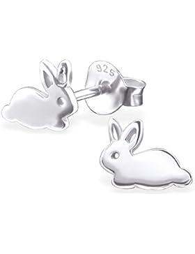 JAYARE Kinder-Ohrstecker Häschen 925 Sterling Silber 6 x 8 mm silber Ohrringe