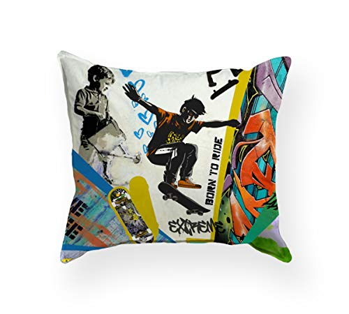 beties Graffiti Skateboard Kopfkissenbezug ca. 40x40 cm Skateboarding-Druck feinste Baumwolle Multicolor
