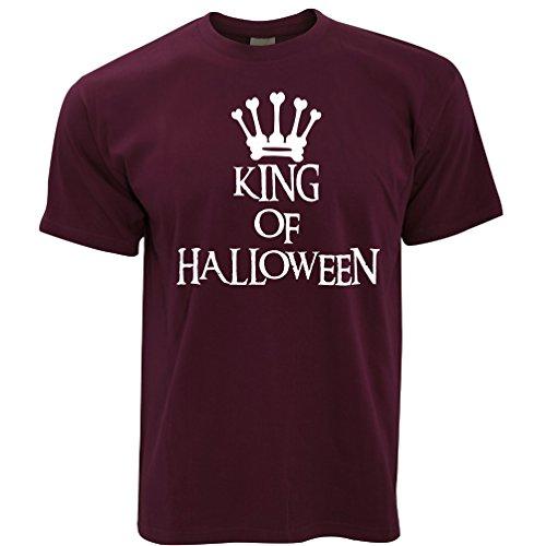 Neuheit Spooky T-Shirt King of Halloween Crown Maroon -