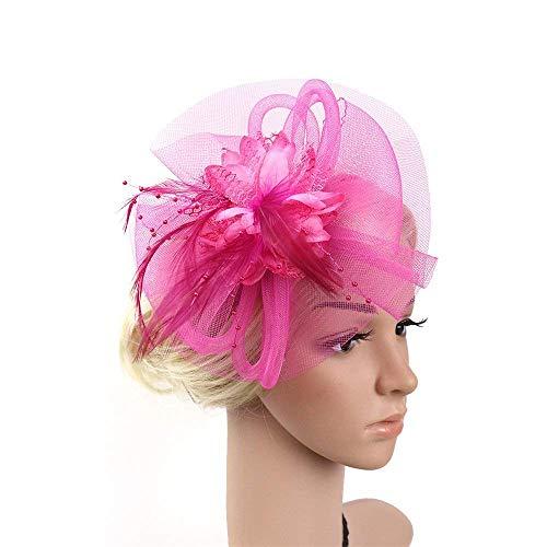 SUPRIEEHJ Mesh-Stirnband für Frauen Damentag Elegante Fascinator Tea Party Hüte Braut Feder Haarband Headwear Blume Haarschmuck Cocktail Royal Ascot für Frauen (Farbe : Rosa)