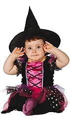 Coqueto disfraz de bruja rosa para niñas ideal en fiestas de Halloween y celebraciones de terror. Consta de un vestido negro y fucsia con falda de tul y sombrero a juego y se encuentra disponible en talla única para bebés de 12 a 24 meses.   ...