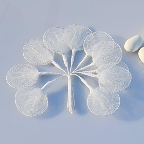 100pz racchette tulle porta confetti per segnaposto bomboniere fai da te (bianco)