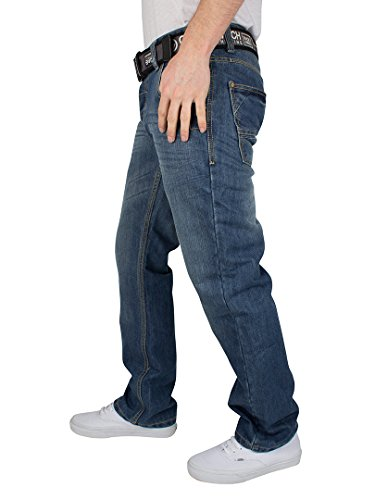 CrossHatch Homme New Wak Straight Leg Jeans, Bleu Bleu