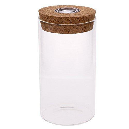 CALISTOUS 12cm Glas Flasche Jar Hydrokultur Terrarium Container Light LED Kork Stopper