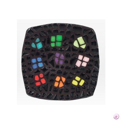 Artemio-Virginie Loy Assiette en mosaïque avec carrés Multicolores Noir