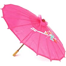 "Flower Print Pink Cloth Bamboo 21"" Dia Chinese Oriental Umbrella Parasol"
